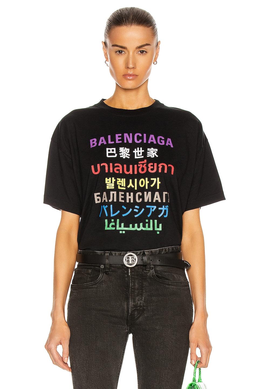Image 1 of Balenciaga Medium Fit T Shirt in Black & Multicolor