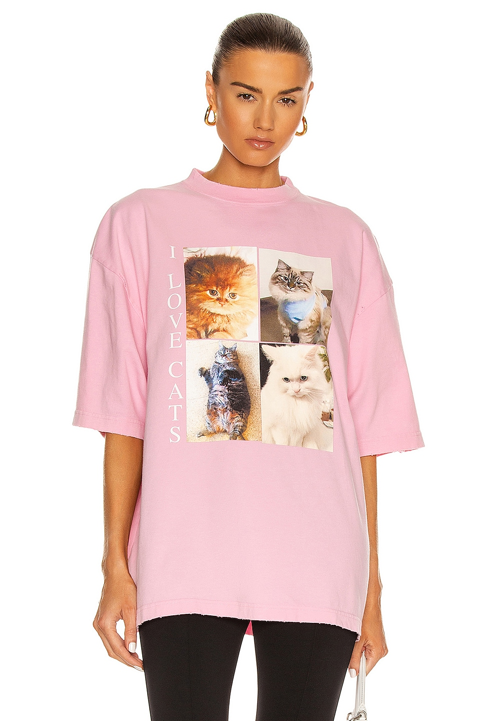 Image 1 of Balenciaga I Love Cats Vintage Jersey XL T Shirt in Pink