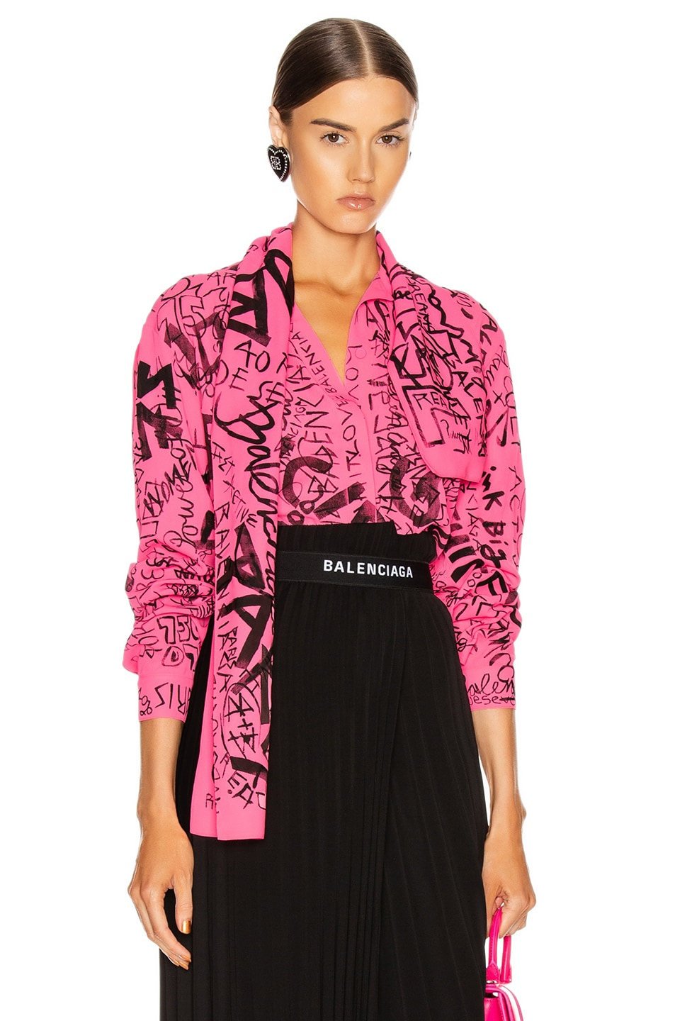 Image 1 of Balenciaga Scarf Blouse in Fluo Pink & Black