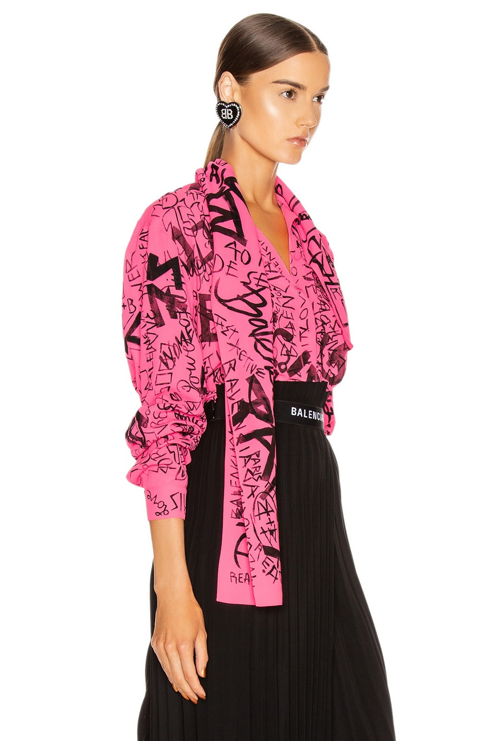 Image 2 of Balenciaga Scarf Blouse in Fluo Pink & Black