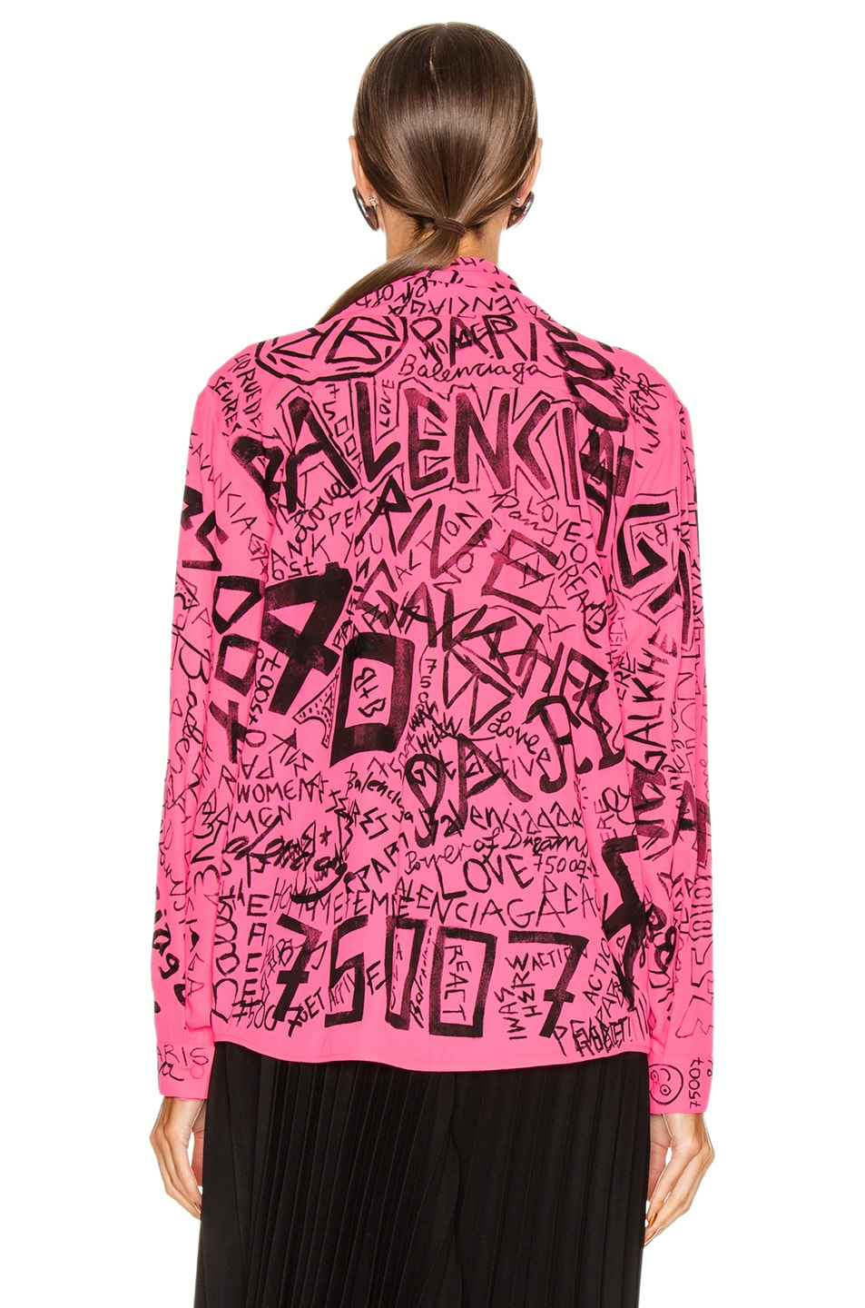 Image 3 of Balenciaga Scarf Blouse in Fluo Pink & Black