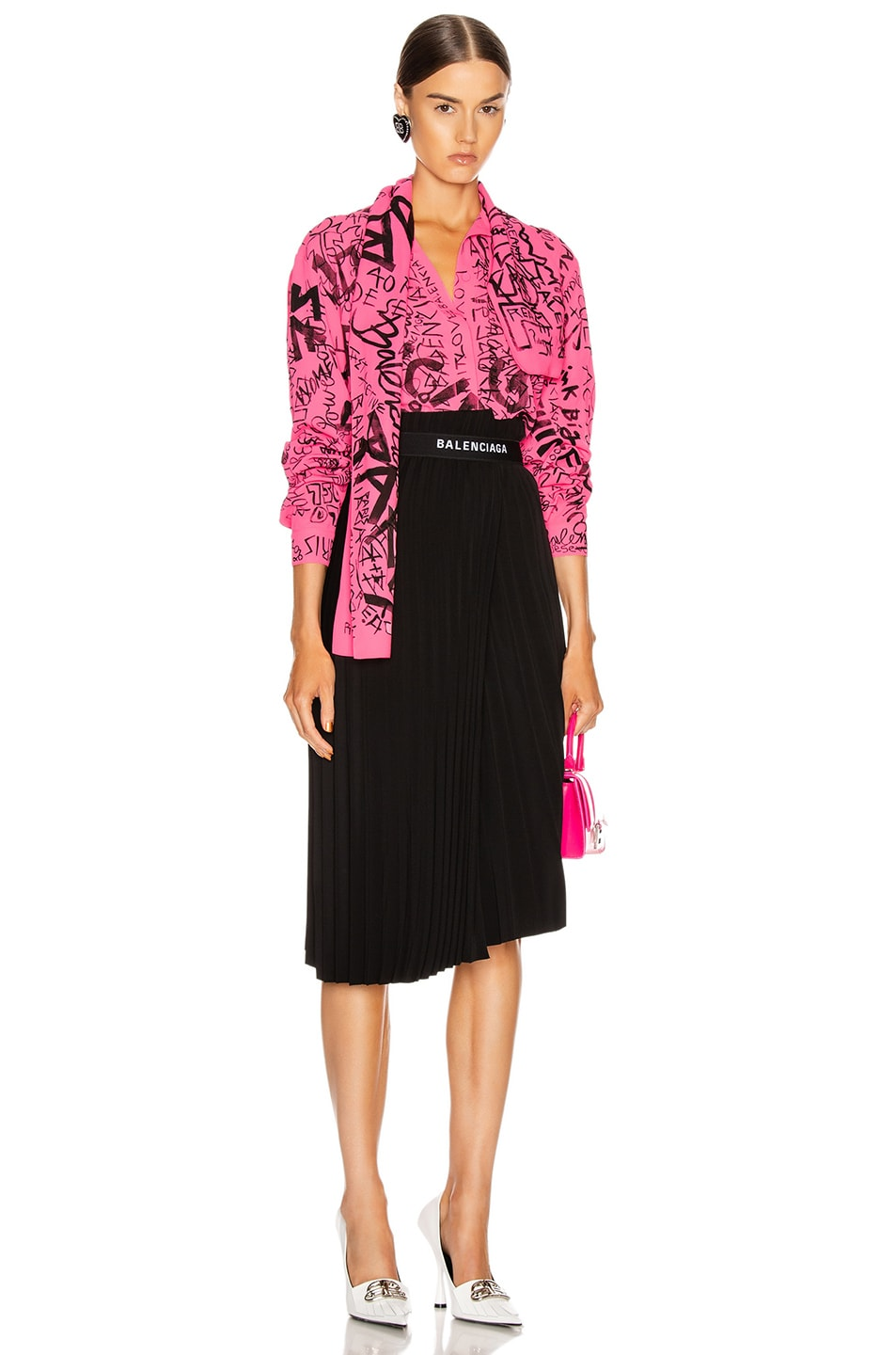 Image 4 of Balenciaga Scarf Blouse in Fluo Pink & Black
