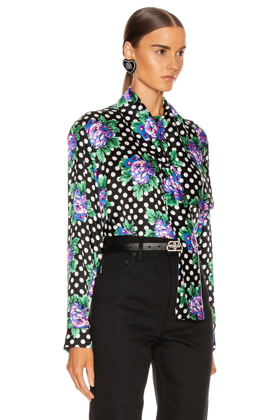 Image 2 of Balenciaga Scarf Blouse in Black