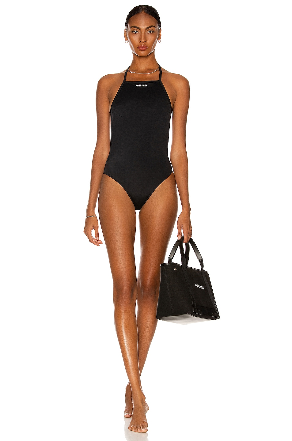 Image 1 of Balenciaga Strappy One Piece Swimsuit in Black