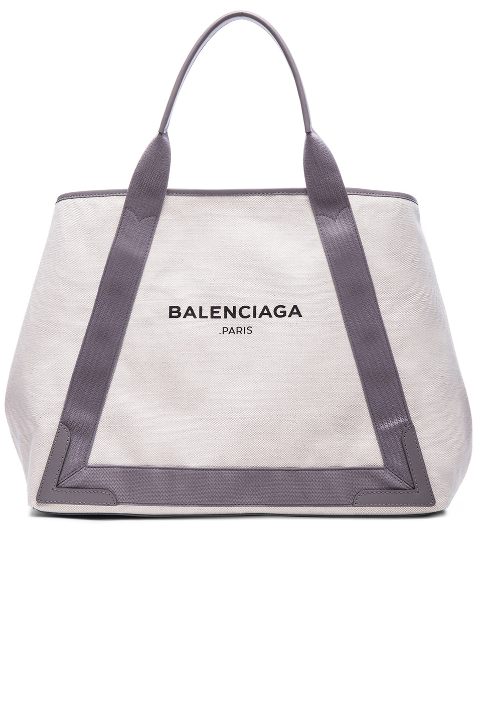 Image 1 of Balenciaga Medium Canvas Tote in Natural & Taupe