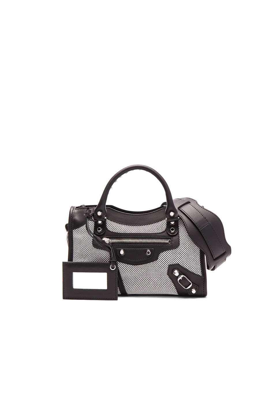Image 1 of Balenciaga Contrast Fabric Classic Mini City AJ in Blanc & Noir