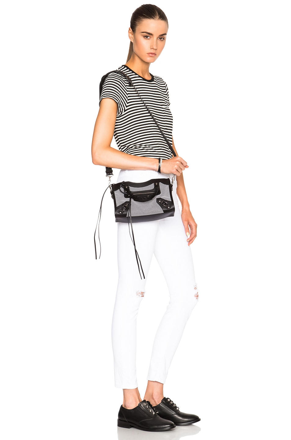 Image 2 of Balenciaga Contrast Fabric Classic Mini City AJ in Blanc & Noir