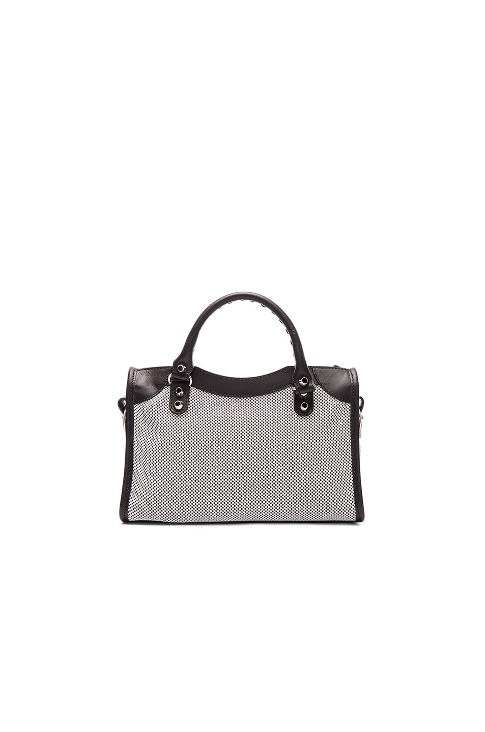 Image 3 of Balenciaga Contrast Fabric Classic Mini City AJ in Blanc & Noir