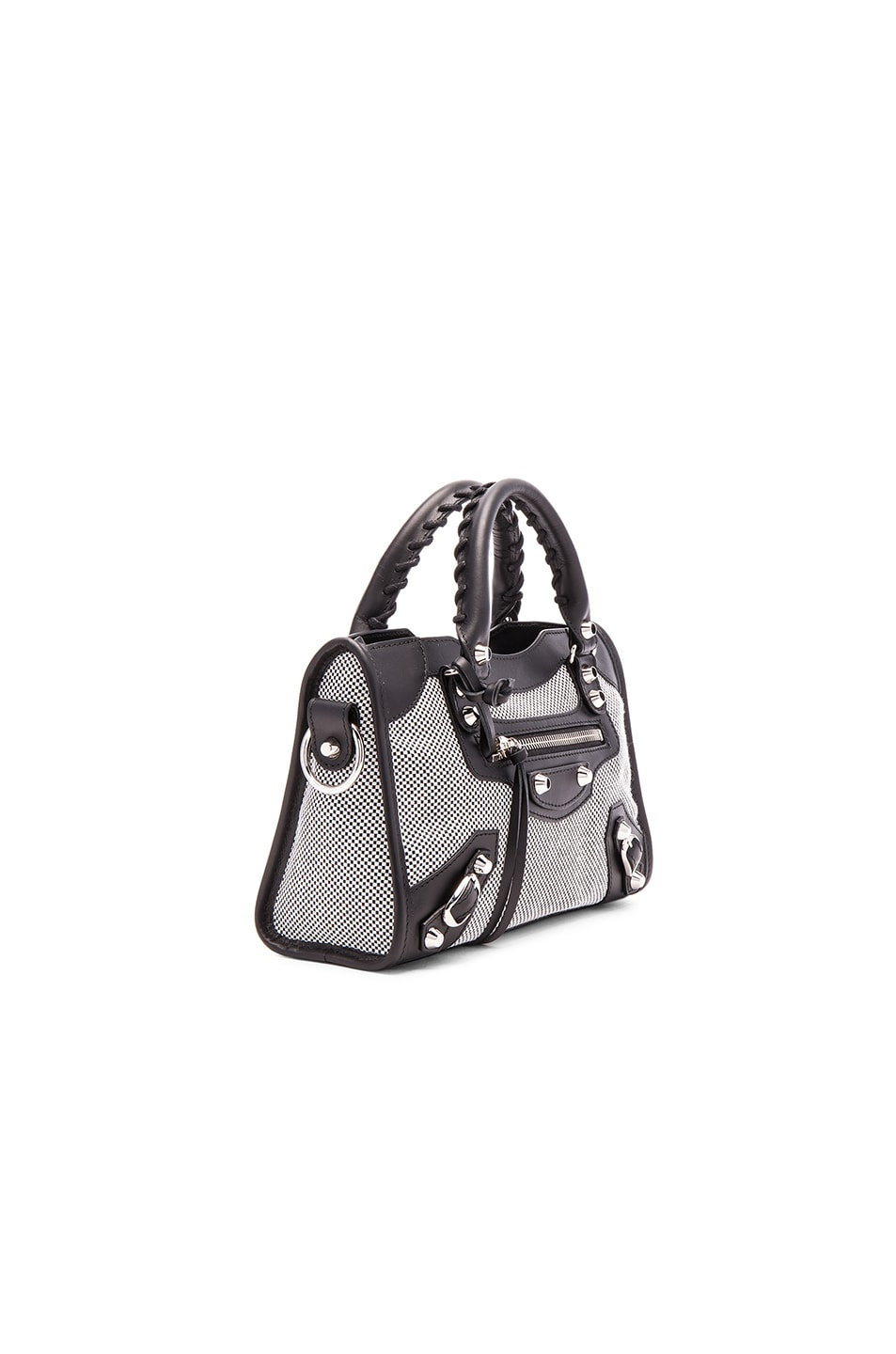 Image 4 of Balenciaga Contrast Fabric Classic Mini City AJ in Blanc & Noir