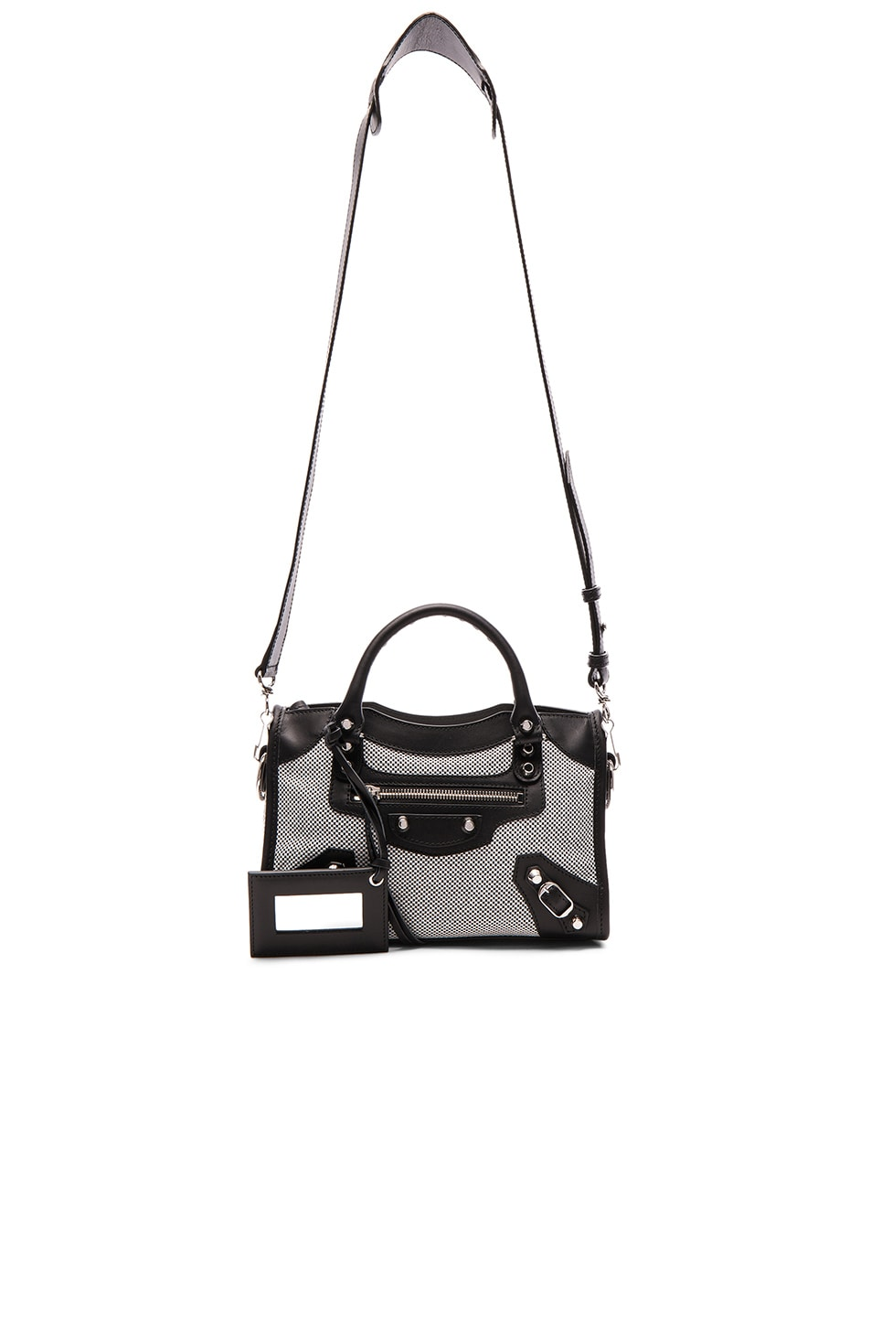 Image 6 of Balenciaga Contrast Fabric Classic Mini City AJ in Blanc & Noir
