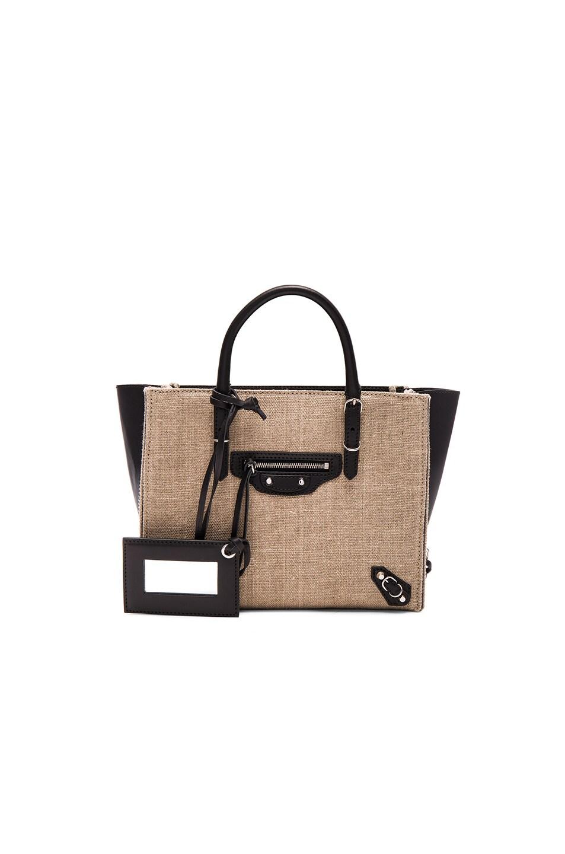 Image 1 of Balenciaga Linen Papier Zip Around Mini in Beige & Noir