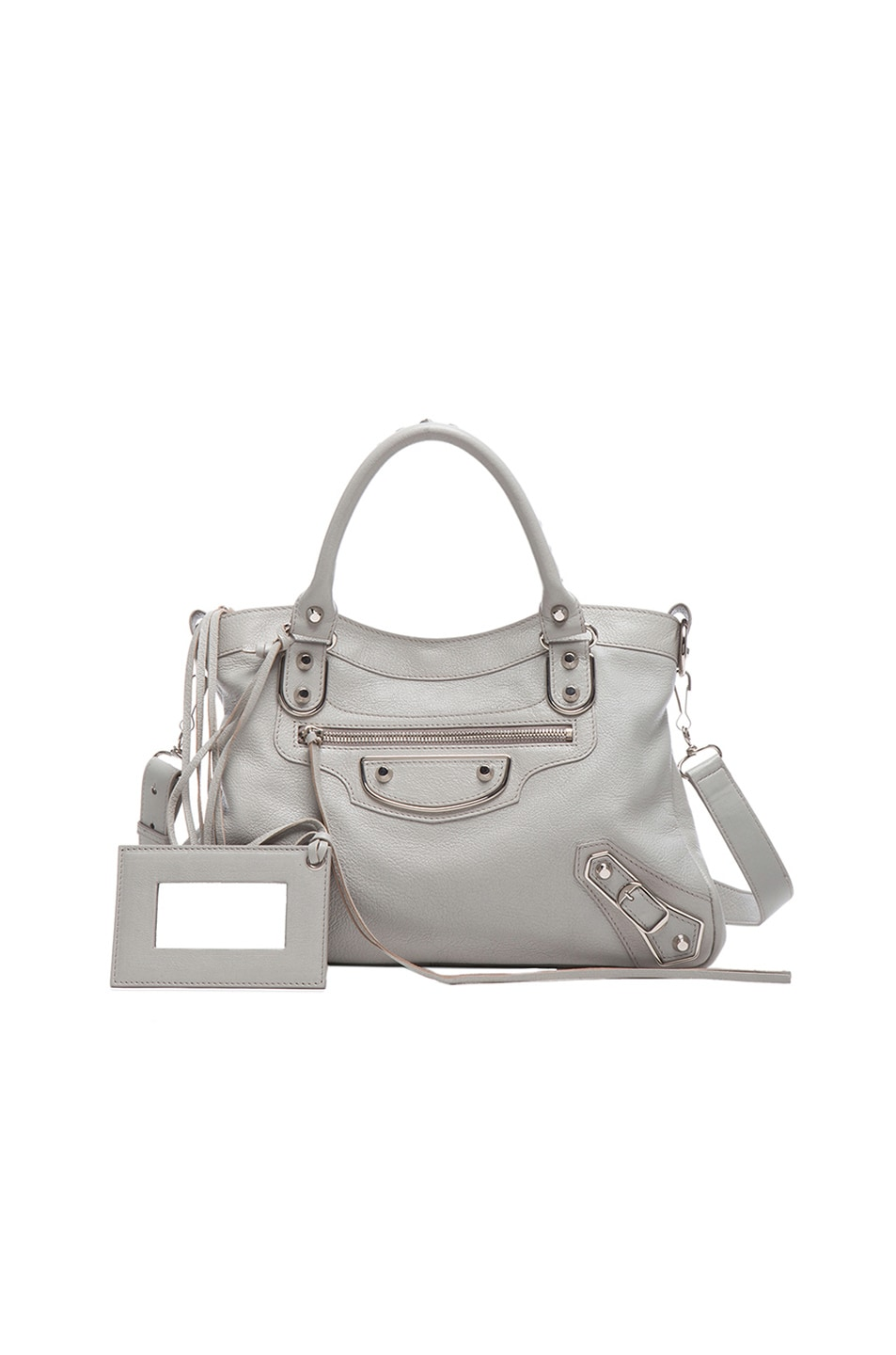 Image 1 of Balenciaga Classic Town Metal Plaque in Pearl Grey