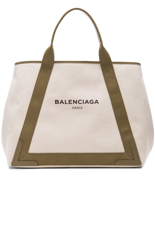 Image 1 of Balenciaga Navy Medium Cabas in Green & Natural