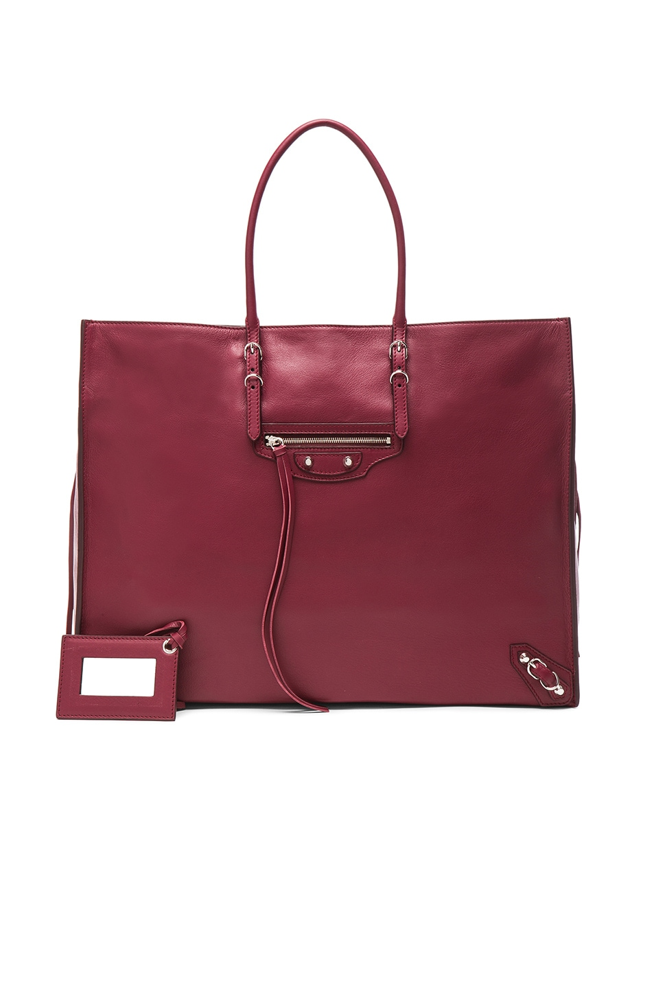 Image 1 of Balenciaga Papier Zip Around A4 Tote in Rouge Pourpre