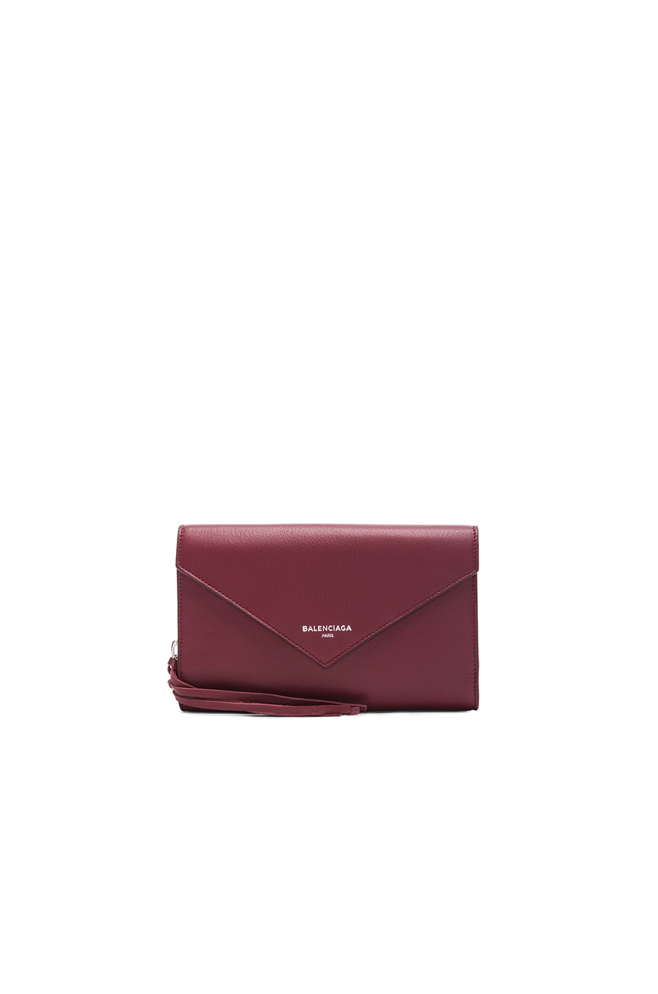 Image 1 of Balenciaga Papier Zip Around Money Wallet in Rouge Pourpre