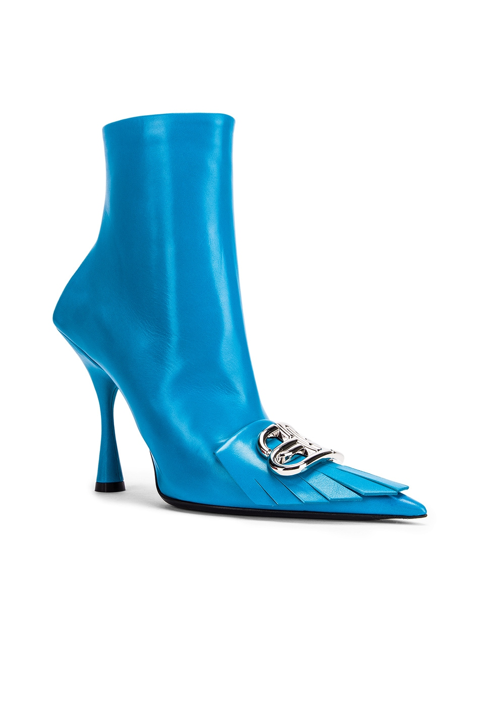 Image 3 of Balenciaga Fringe Knife Booties in Turquoise & Silver