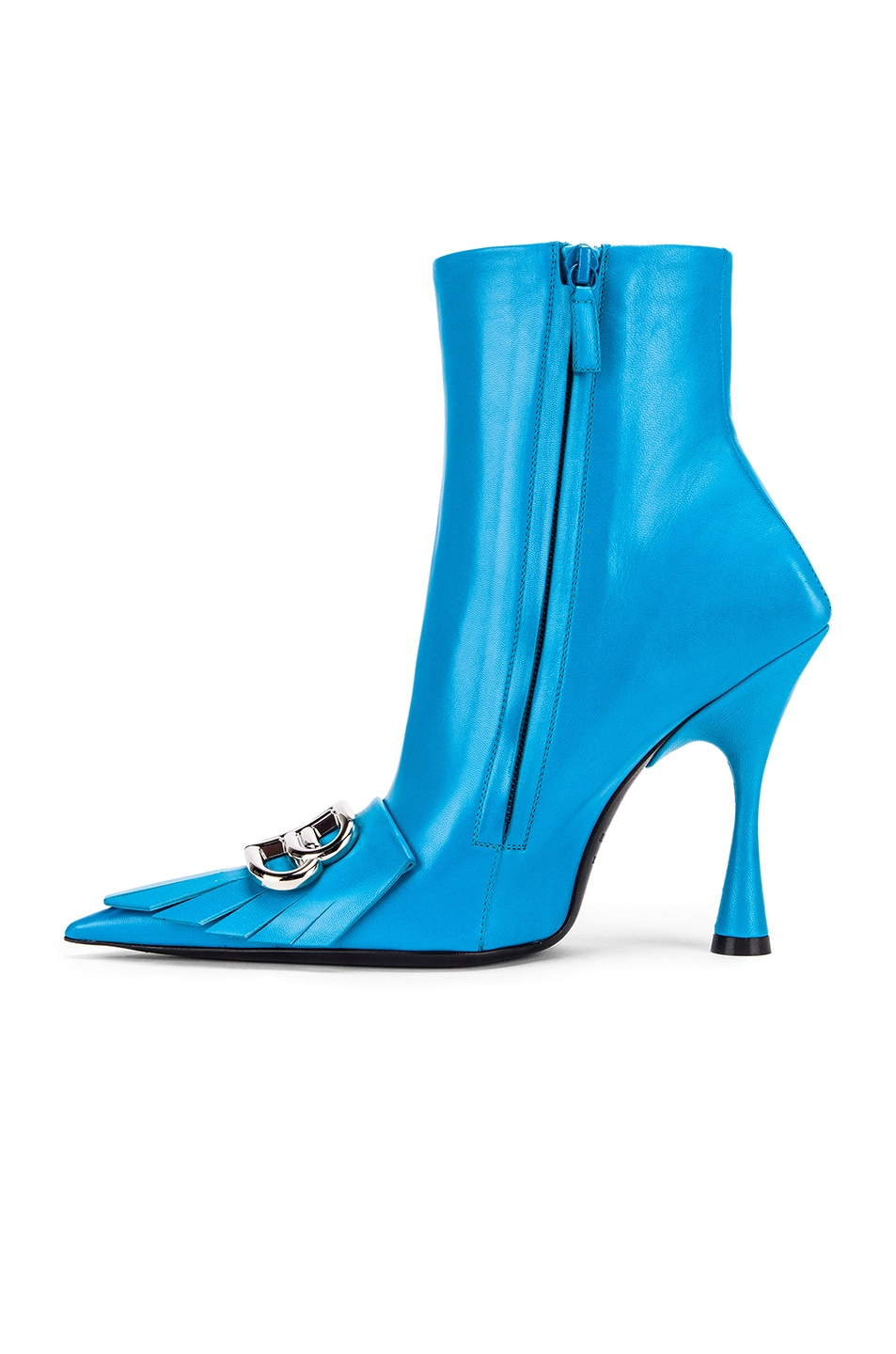 Image 5 of Balenciaga Fringe Knife Booties in Turquoise & Silver