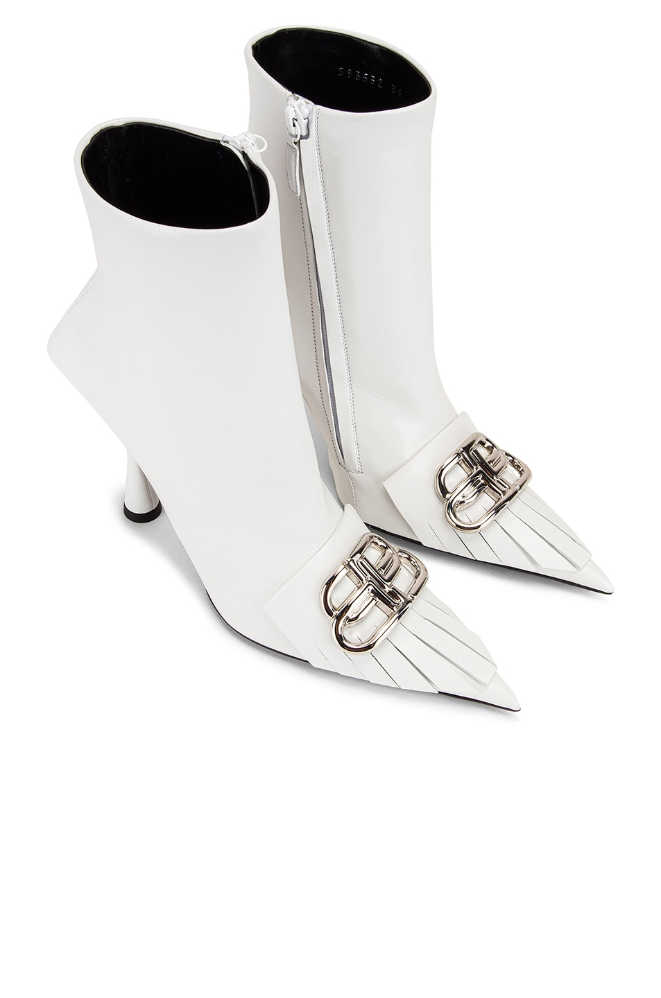 Image 1 of Balenciaga Fringe Knife Booties in White & Silver