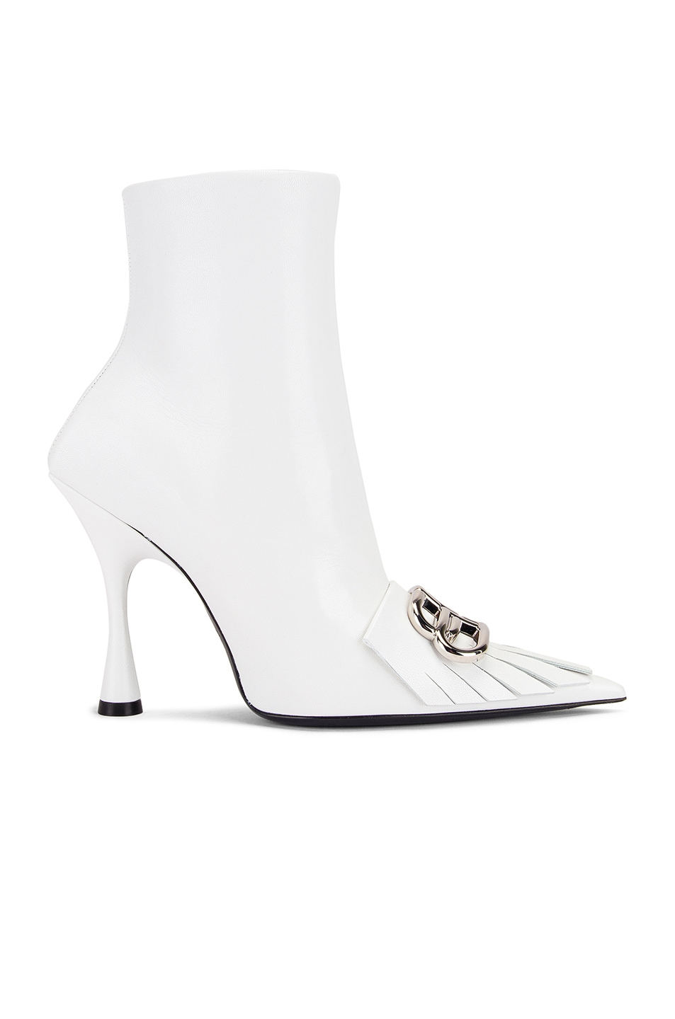 Image 2 of Balenciaga Fringe Knife Booties in White & Silver