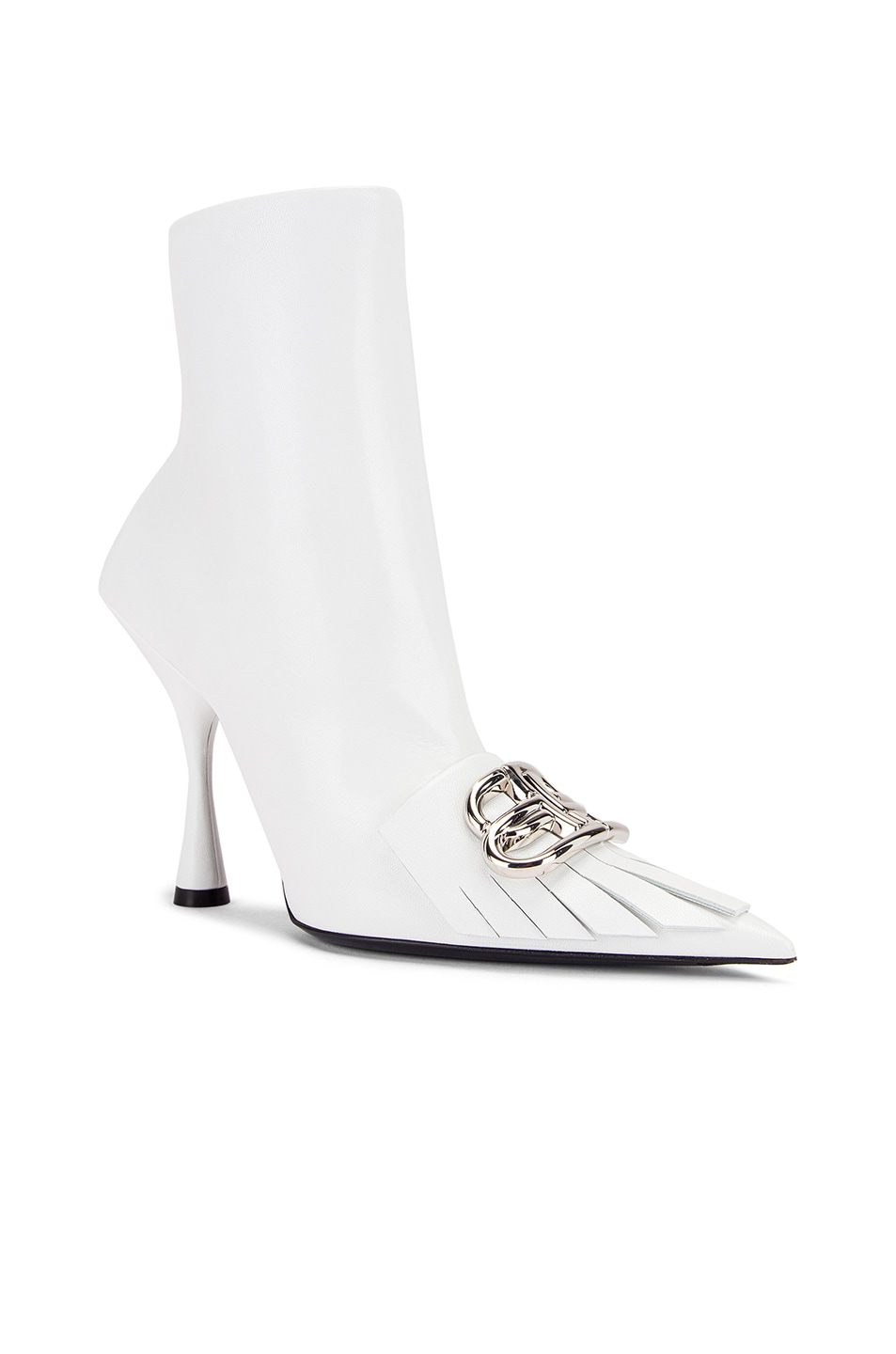 Image 3 of Balenciaga Fringe Knife Booties in White & Silver