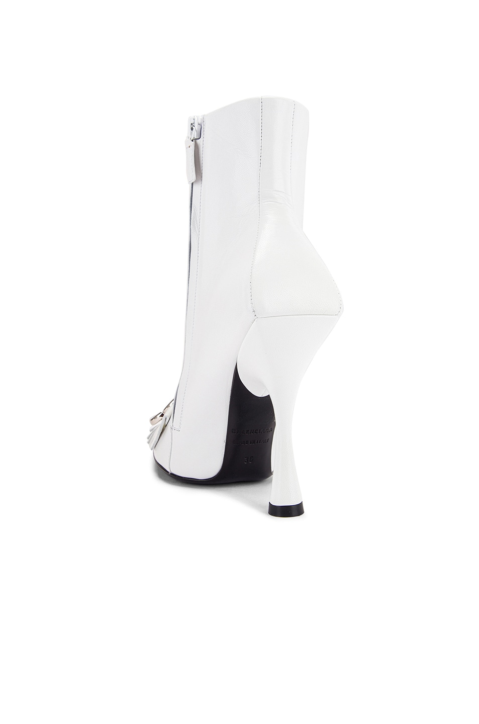 Image 4 of Balenciaga Fringe Knife Booties in White & Silver