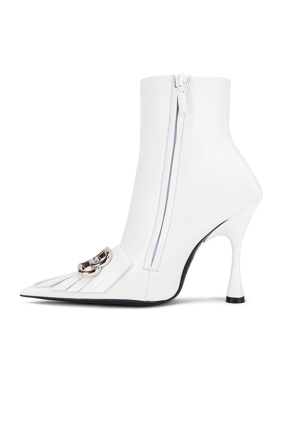 Image 5 of Balenciaga Fringe Knife Booties in White & Silver