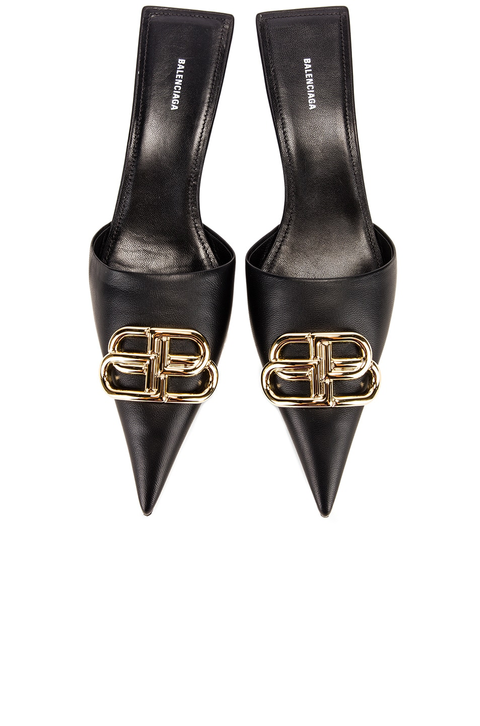 Image 1 of Balenciaga Square Knife BB Kitten Heels in Black & Gold