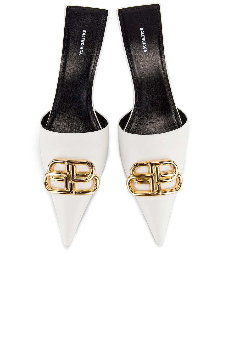 Image 1 of Balenciaga Square Knife BB Kitten Heels in White & Gold