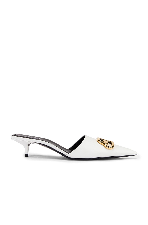 Image 2 of Balenciaga Square Knife BB Kitten Heels in White & Gold