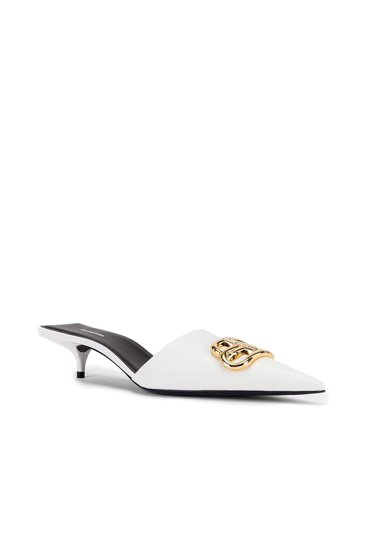 Image 3 of Balenciaga Square Knife BB Kitten Heels in White & Gold