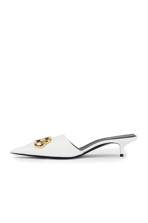Image 5 of Balenciaga Square Knife BB Kitten Heels in White & Gold