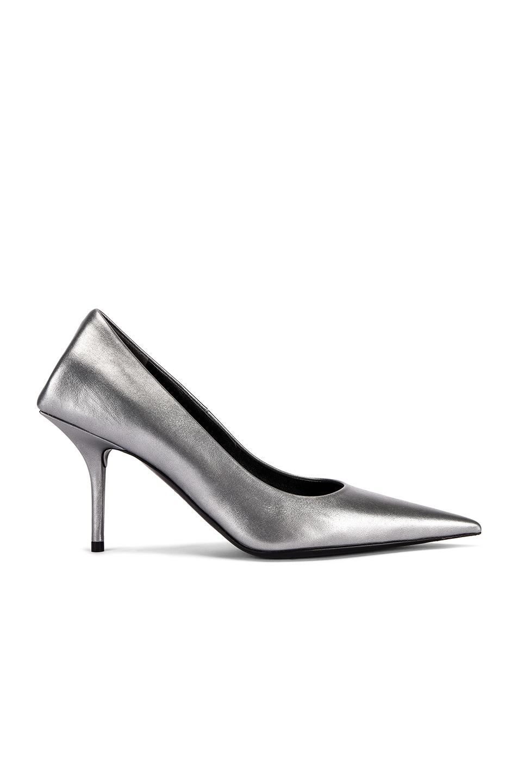 Image 1 of Balenciaga Square Knife Metallic Pumps in Silver