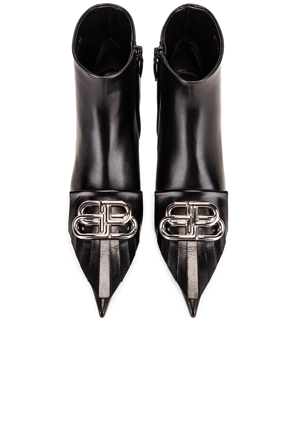 Image 1 of Balenciaga Fringe Knife Booties in Black & Silver