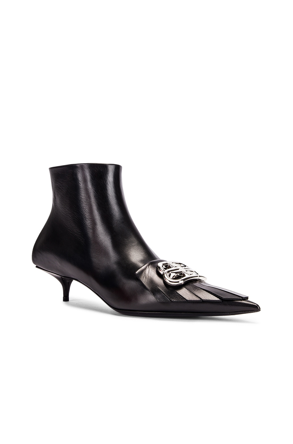 Image 3 of Balenciaga Fringe Knife Booties in Black & Silver