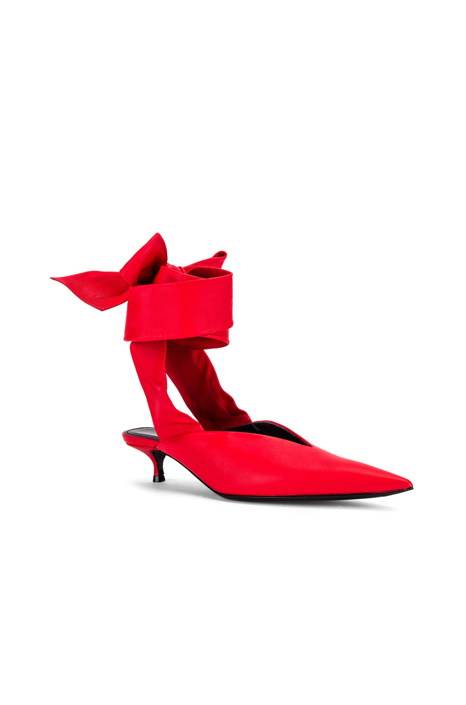 Image 2 of Balenciaga Dance Knife Wrap Around Kitten Heels in Red