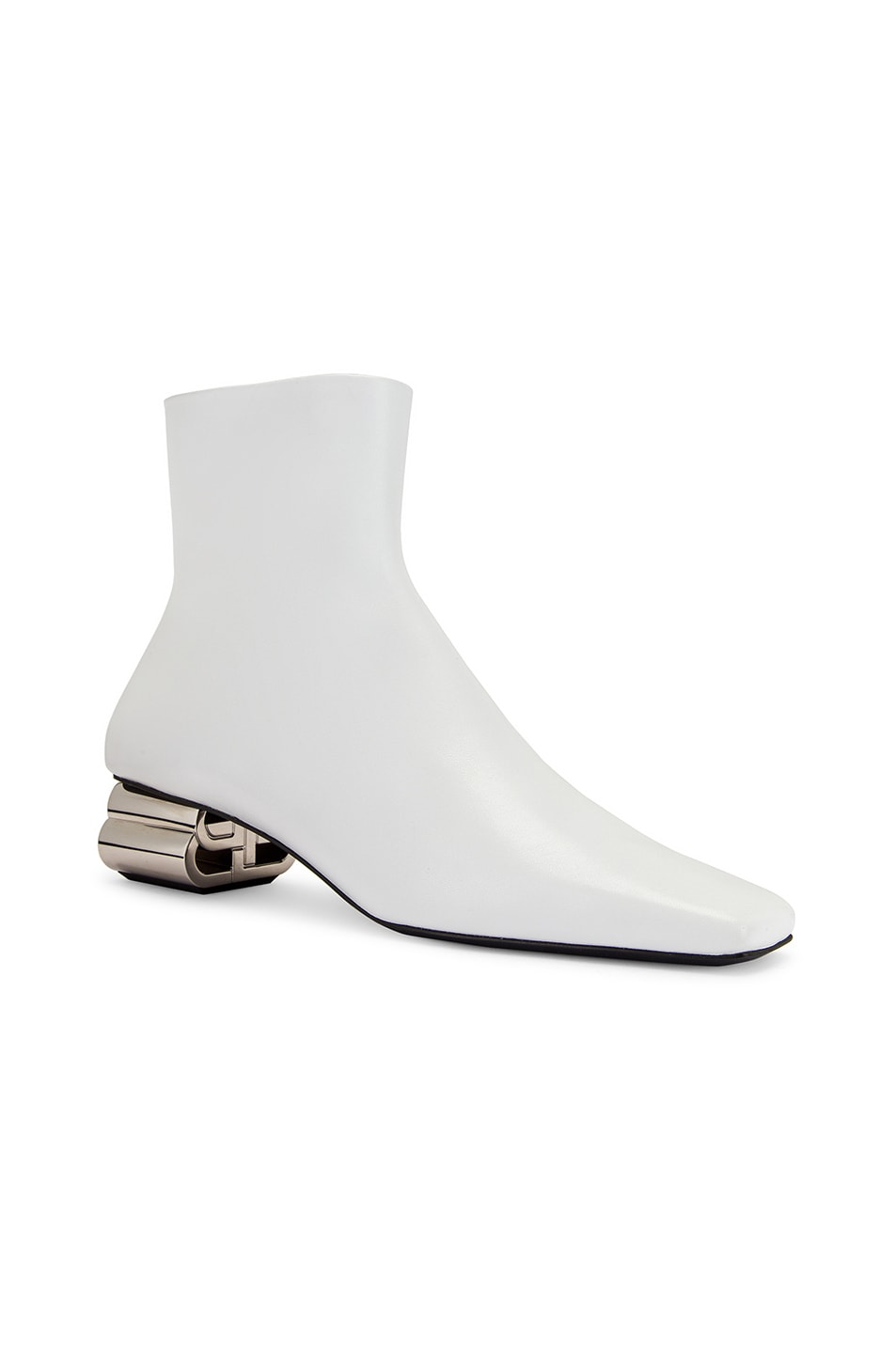 Image 2 of Balenciaga Typo Booties in White & Silver