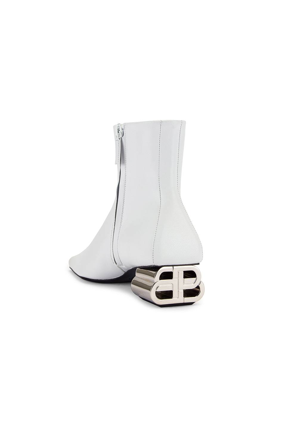 Image 3 of Balenciaga Typo Booties in White & Silver