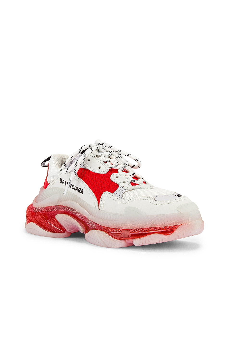 Image 2 of Balenciaga Triple S Sneakers in White & Red