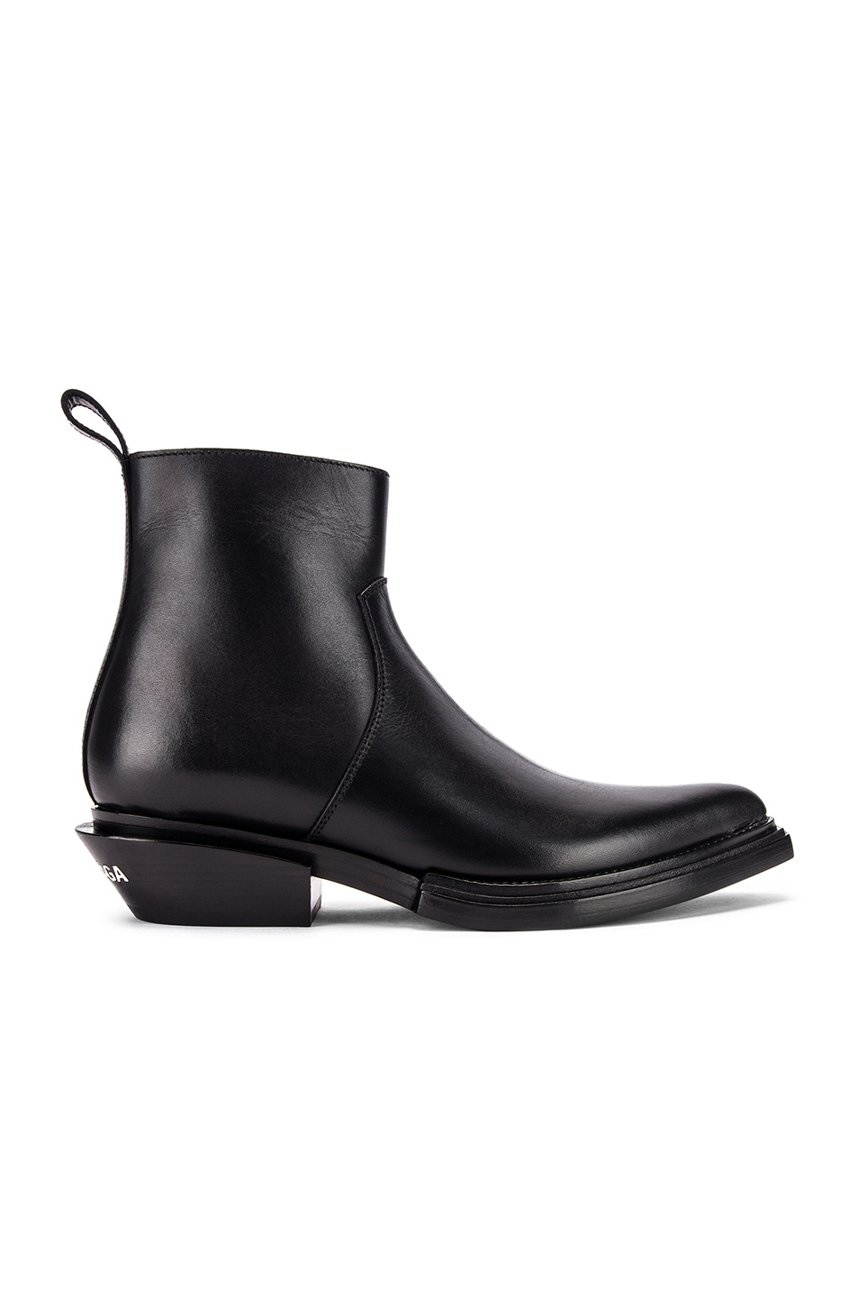 Image 1 of Balenciaga Santiag Leather Booties in Black