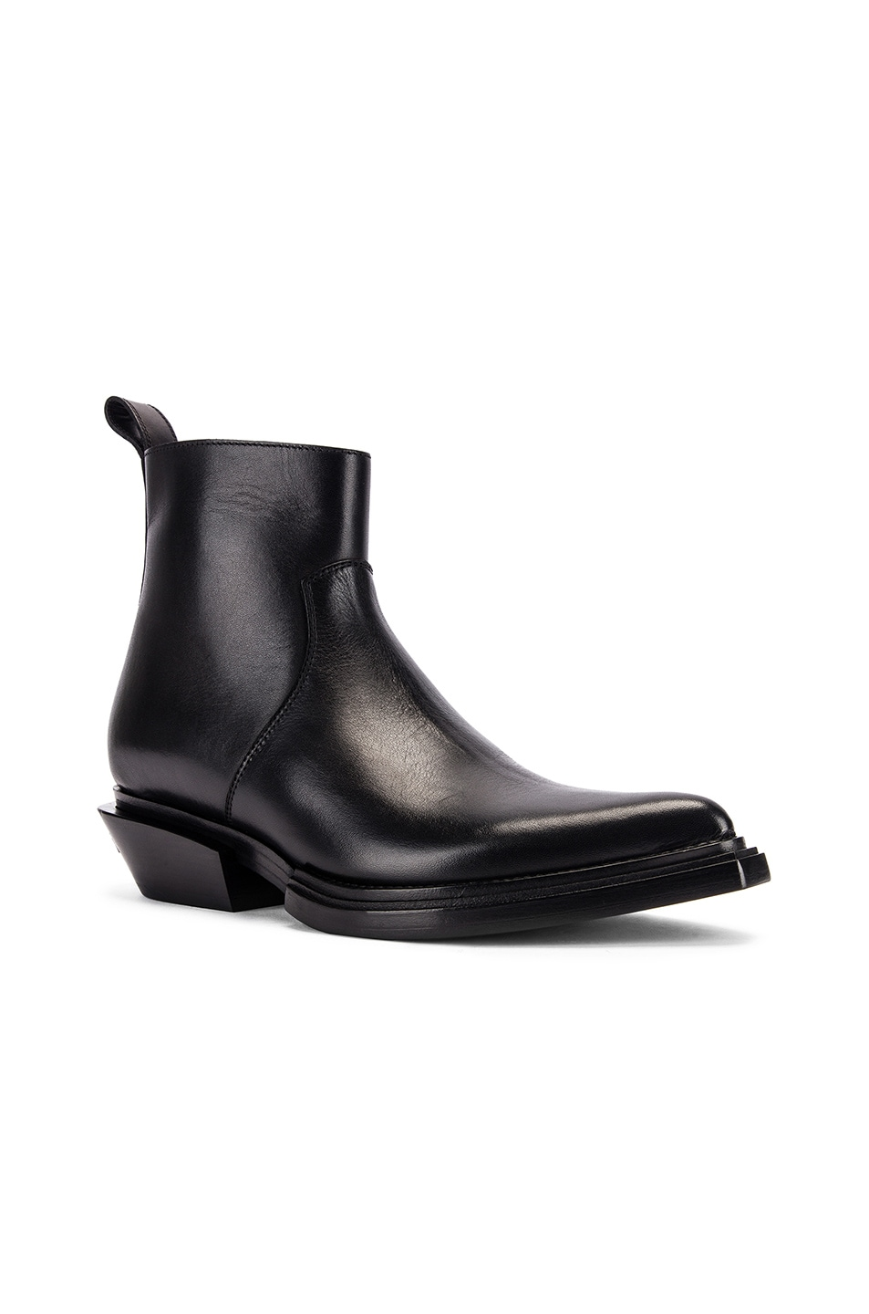 Image 2 of Balenciaga Santiag Leather Booties in Black