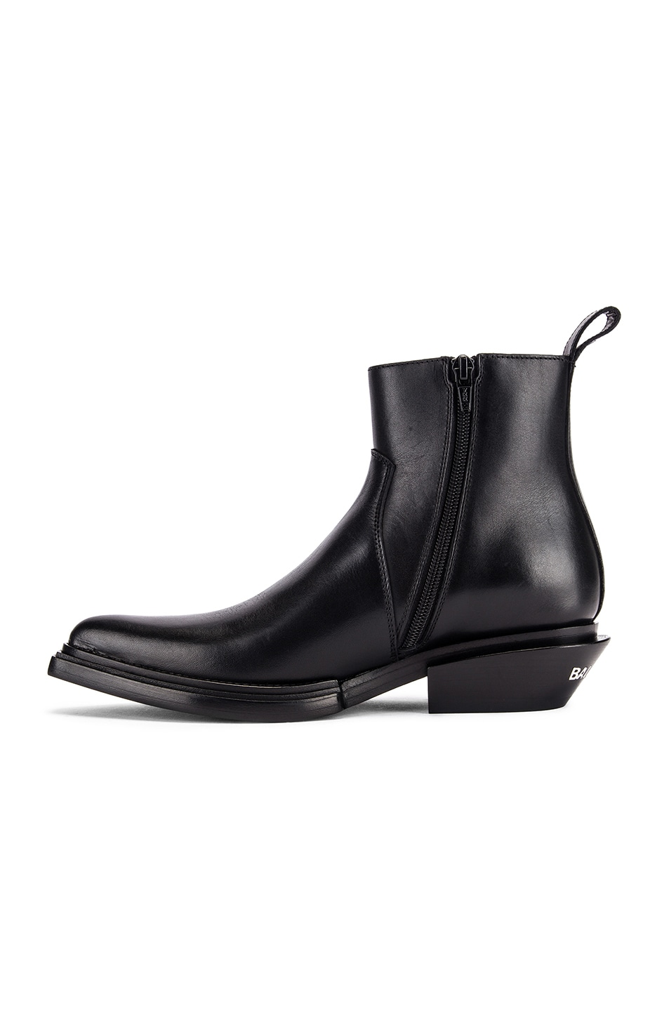 Image 5 of Balenciaga Santiag Leather Booties in Black