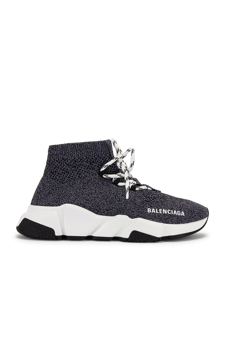 Image 1 of Balenciaga Speed Lace Up Knit Sneakers in Black & White