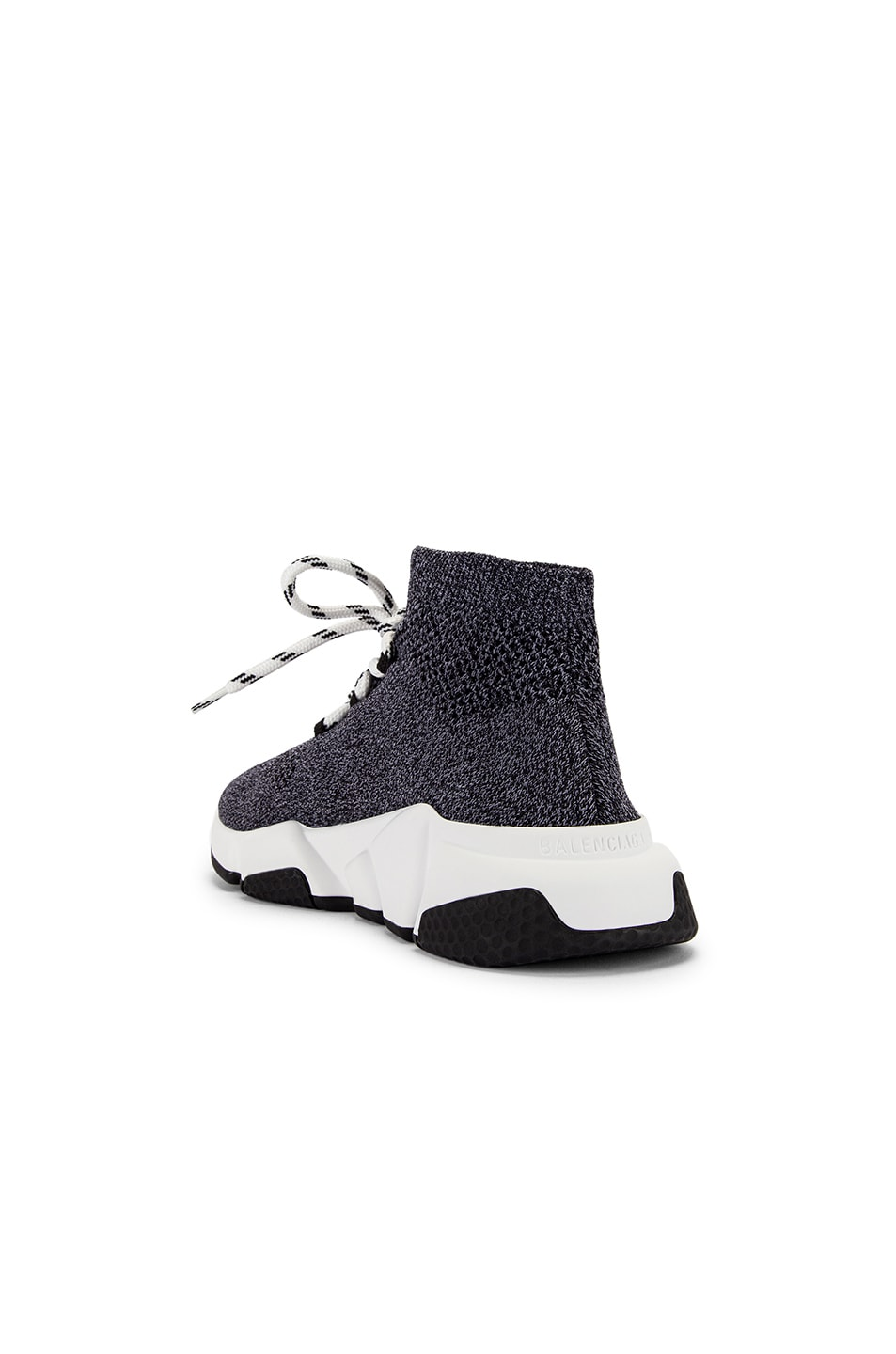 Image 3 of Balenciaga Speed Lace Up Knit Sneakers in Black & White