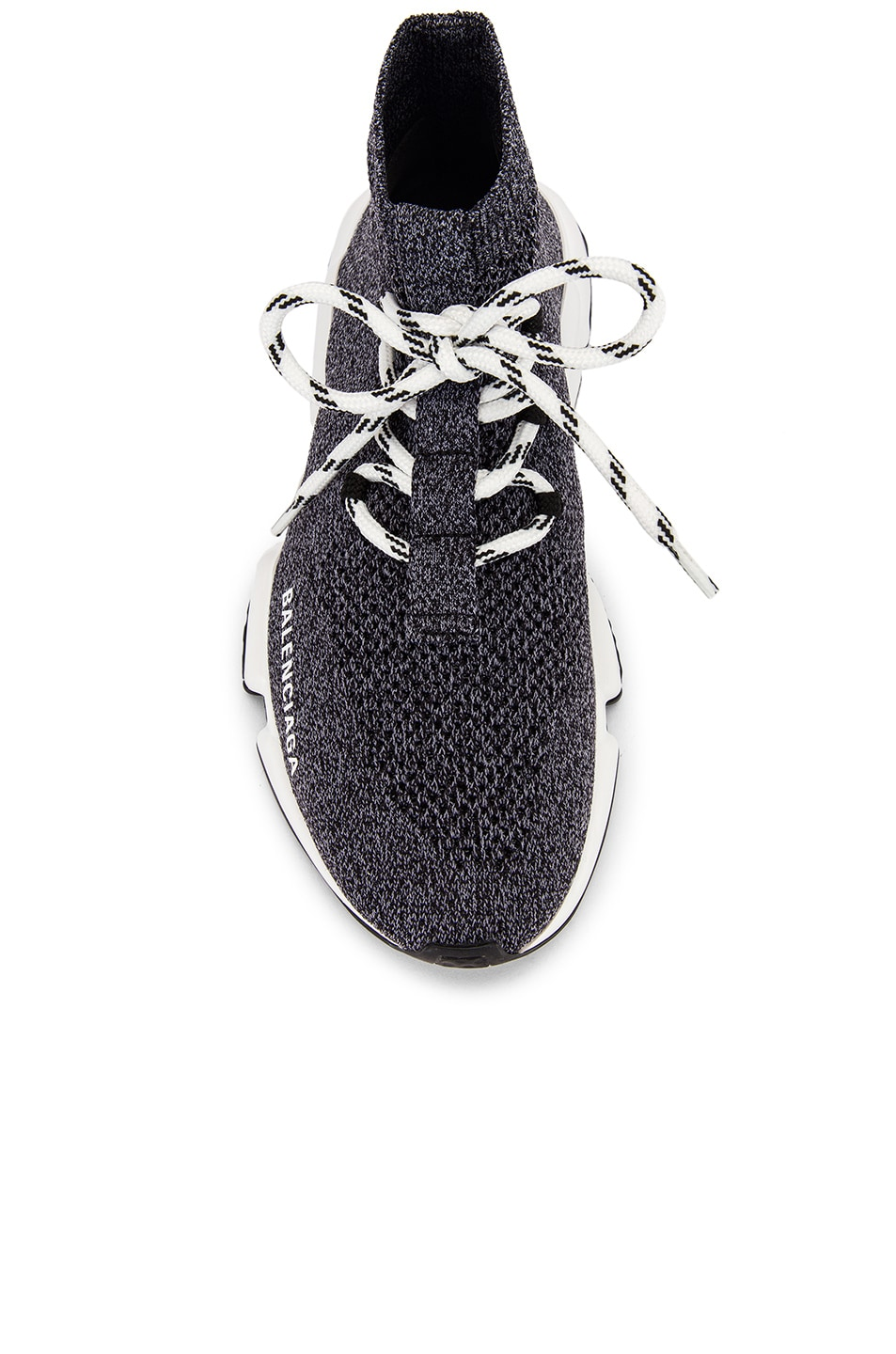 Image 4 of Balenciaga Speed Lace Up Knit Sneakers in Black & White
