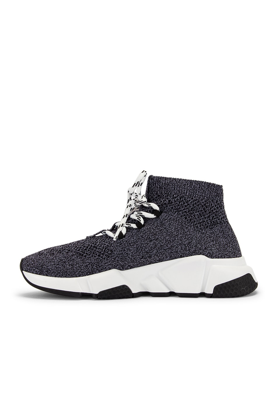 Image 5 of Balenciaga Speed Lace Up Knit Sneakers in Black & White
