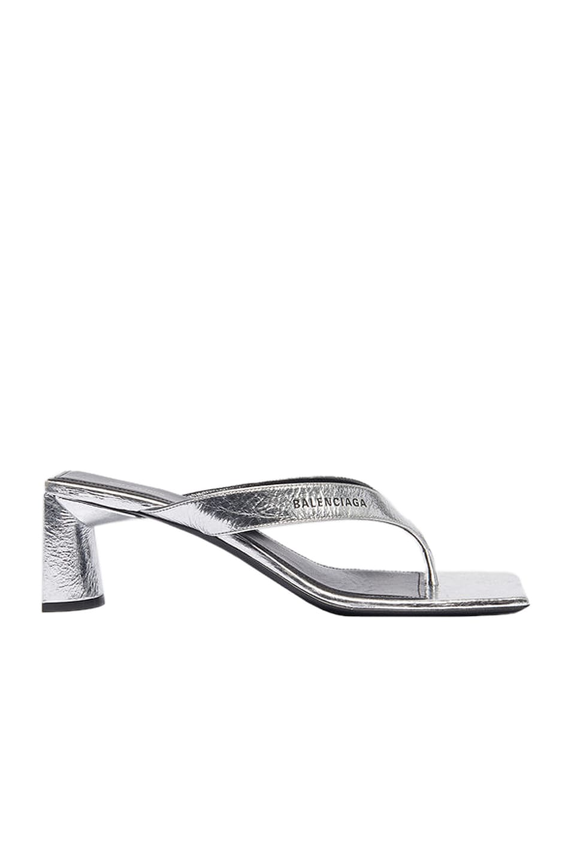 Image 1 of Balenciaga Double Square Sandals in Silver & Black