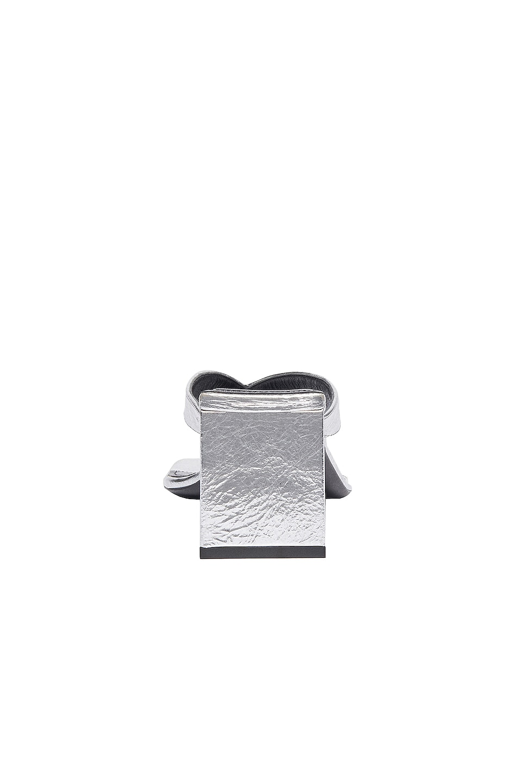 Image 3 of Balenciaga Double Square Sandals in Silver & Black