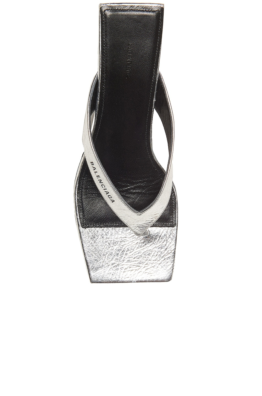 Image 4 of Balenciaga Double Square Sandals in Silver & Black