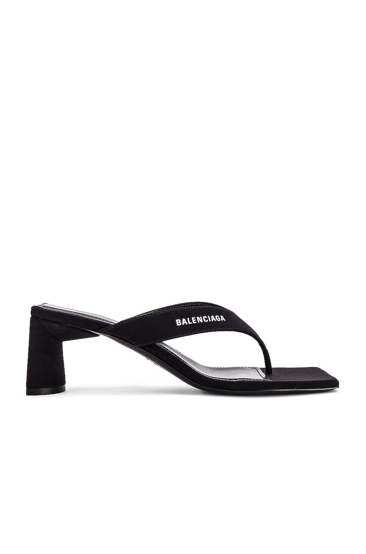 Image 2 of Balenciaga Logo Double Square Sandals in Black & White