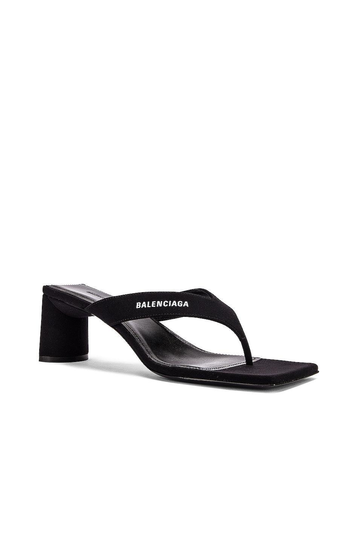 Image 3 of Balenciaga Logo Double Square Sandals in Black & White
